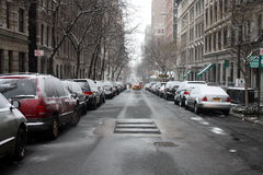 Snowy street in NYC Stock Photo