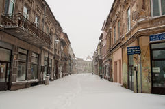 Snowy street Royalty Free Stock Photo