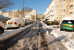 Snowy street, St.Leonards-on-Sea Stock Photography