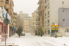 Snowy street town of Pomorie, Bulgaria, 31 december Royalty Free Stock Photos
