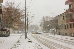 Snowy street town of Pomorie in Bulgaria, 31 december Stock Image