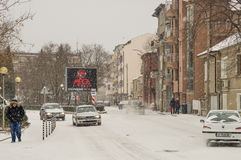 Snowy street town of Pomorie in Bulgaria, January Stock Photography