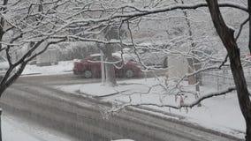 Snowy street stock footage
