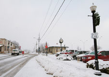 Snowy street in williams stock photography