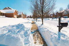 Snowy street , winter scenery Royalty Free Stock Image