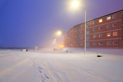 Snowy street at winter time Royalty Free Stock Image