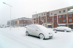 Snowy street at winter time Royalty Free Stock Photos