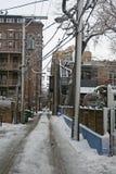 Snowy sulla strada nella vicinanza di Chicago immagini stock