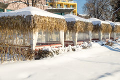 Snowy summer café in the old town of Pomorie in Bulgaria Royalty Free Stock Images