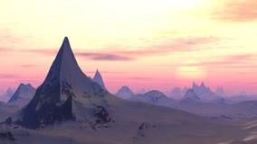 Snowy sunrise mountain view Stock Image