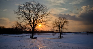 Snowy Sunset Stock Image