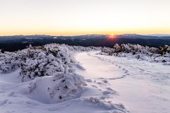 Snowy sunset in the mountain Royalty Free Stock Images