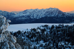 Snowy sunset in the Ogden Valley. Stock Photography