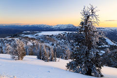 Snowy sunset in the Ogden Valley. Royalty Free Stock Photography