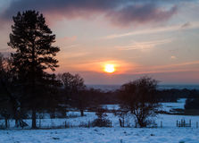 Snowy sunset Royalty Free Stock Photo