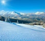 Snowy sunshine mountain landscape royalty free stock image