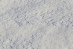 Snowy surface. In winter, close-up photo, in focus a thin strip in the center of the frame, the rest is out of focus, close-up photo stock images