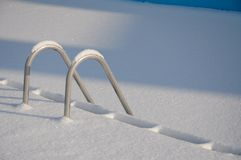 Snowy swimming pool stairs. In the winter Royalty Free Stock Images