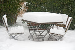 Snowy table Stock Photo