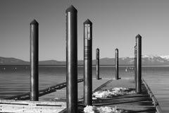 Snowy Tahoe Pier - BW Royalty Free Stock Image
