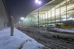 Snowy terminal of Lech Walesa Airport stock images