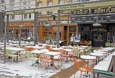 Snowy terrace in Antwerp stock images
