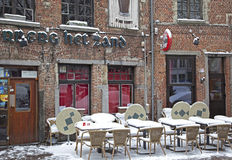 Snowy terrace in city Antwerp Stock Photo
