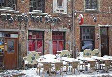 Snowy terrace in city Antwerp stock photo