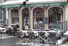 Snowy terrace in city Antwerp Royalty Free Stock Photo