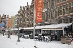 Snowy terrace in city Antwerp Stock Photos