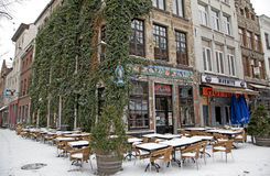 Snowy terrace in city Antwerp royalty free stock image