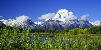 Snowy Tetons over Snake River Stock Image