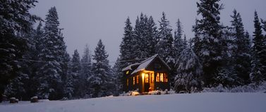 Snowy Tiny House Stock Images