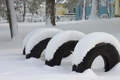 Snowy tires in the Snowy Park. Pesaro, Italy Stock Photography
