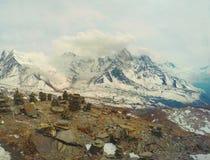 On snowy top of mountain in Himalaya, Nepal Stock Image