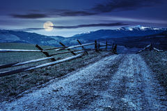 Snowy tops of carpathians in spring at night in full moon light stock images