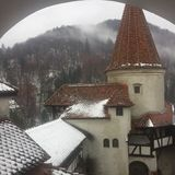 Snowy Tower of Bran Castle Dracula`s Castle, Romania stock photography