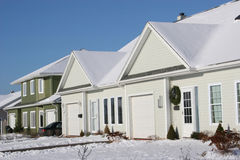 Snowy Townhouses Royalty Free Stock Photos