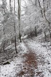 Snowy trail. Winter walk Stock Photo
