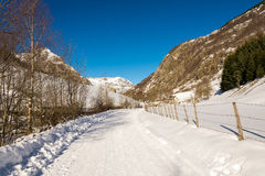 Snowy trail in Gavarnie in the Pyrenees Stock Images