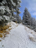 Snowy trail in the mountains with blue sky. Germany, Füssen, Tegelberg - Snowy trail in the mountains with blue sky stock photography