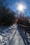 Snowy trail at National park Plitvice Stock Photography