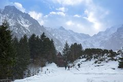 Snowy trail in Tatra mountains. At winter, Poland Stock Image