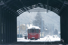 Snowy train. Train covered in snow at the Chamonix station in the French Alps Royalty Free Stock Photos