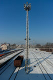 Snowy train station. Stock Images
