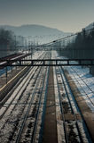 Snowy train station. Stock Image