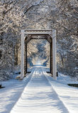 Snowy Train Trestle Stock Image
