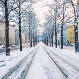 Snowy tram lines Royalty Free Stock Photography