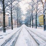 Snowy-Tramlinien Lizenzfreie Stockfotografie