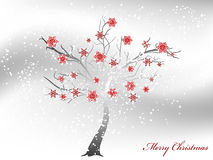 Snowy tree. Abstract snowy tree wirh red snowflakes vector illustration